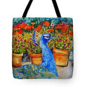 Potted Peacock Tote Bag