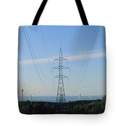 Power Lines Lead From Windmills Tote Bag