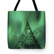 Powerlines And Aurora Borealis Tote Bag