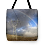 Powerlines, Rainbow Forms As Evening Tote Bag