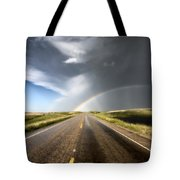 Prairie Hail Storm And Rainbow Tote Bag