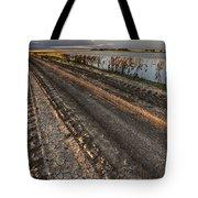 Prairie Road Storm Clouds Mud Tracks Tote Bag