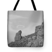 Praying Monk With Halo Camelback Mountain Bw Tote Bag