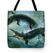 Pre-historic Crocodiles Eating A Fish Tote Bag