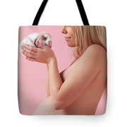 Pregant Young Woman Holding A Bunny In Her Hands Tote Bag