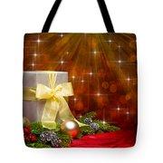 Present Sock Shape Short Bread Cookie In Christmas Tree Tote Bag