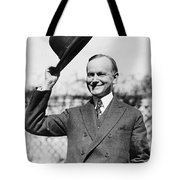 President Calvin Coolidge Tips Is Hat Tote Bag