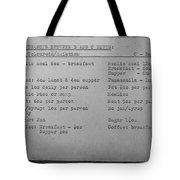 Prison Menu Tote Bag