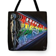 Projection With Rainbow Scroll Border Tote Bag