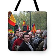 Protest In The Plaza Tote Bag by Lorraine Devon Wilke