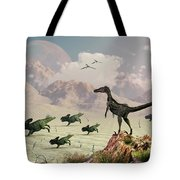 Protoceratops Stampede In Fear Tote Bag