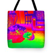 Psychedelic Doggy Love Tote Bag