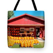 Pumpkin Barn Tote Bag by Rachel Cohen