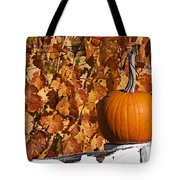 Pumpkin On White Fence Post Tote Bag