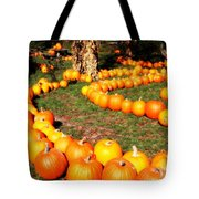 Pumpkin Patch Path Tote Bag by Carol Groenen