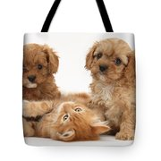 Puppies And Kitten Tote Bag
