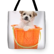 Puppy In Bucket Tote Bag