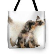 Puppy Licking Kitten Tote Bag