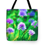 Purple And Green Chive Watercolor Tote Bag