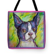 Purple Boston Terrier Tote Bag