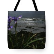 Purple Irises On Beach Tote Bag