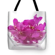 Purple Orchid In Glass Bowl Tote Bag
