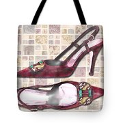 Purple Pumps On Terrazzo Tiles Tote Bag