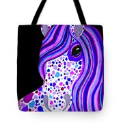 Purple Spotted Horse Tote Bag