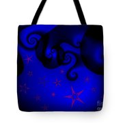 Purple Stars On Blue Swirls Planet Tote Bag