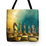 Pushing Back The Knight Tote Bag
