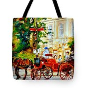 Quebec City Street Scene The Red Caleche Tote Bag