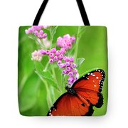 Queen Butterfly And Pink Flowers Tote Bag