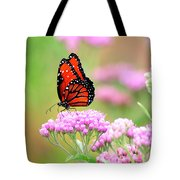 Queen Butterfly Sitting On Pink Flowers Tote Bag
