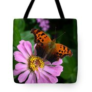 Question Mark Butterfly And Zinnia Flower Tote Bag
