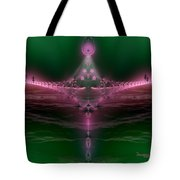 Quiet Foggy Night On The Boardwalk Tote Bag