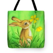 Rabbit And Flower Tote Bag