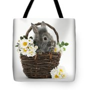 Rabbit In A Basket With Flowers Tote Bag