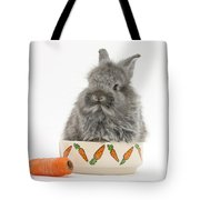 Rabbit In A Food Bowl With Carrot Tote Bag