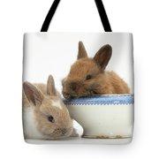 Rabbits And China Bowl Tote Bag