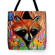 Raccoon And Butterfly Tote Bag