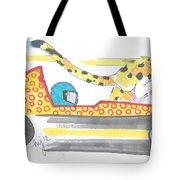 Race Car And Cheetah Cartoon Tote Bag
