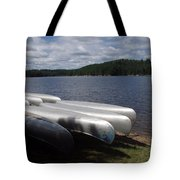 Racks Of Canoe's On Bear Pond Lake In The Adirondacks Ny Tote Bag