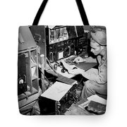 Radio Operator Operates His Scr-188 Tote Bag by Stocktrek Images