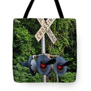 Railroad Crossing Light And Greenery Tote Bag