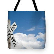 Railroad Crossing Sign Tote Bag