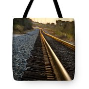 Railroad Tracks At Sundown Tote Bag