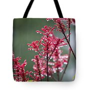 Rain Drops On Firespike  Tote Bag