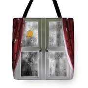 Rain On A Window With Curtains Tote Bag