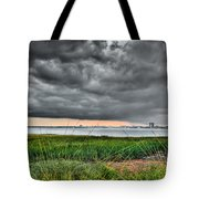 Rain Rolling In On The River Tote Bag