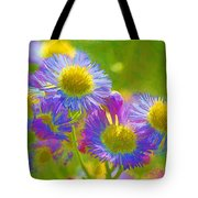 Rainbow Colored Weed Daisies Tote Bag